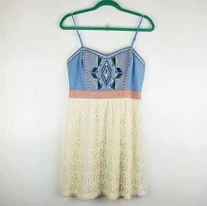 Flying Tomato Boho Lace Embroidered Mini Dress